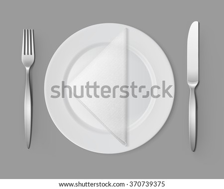 Vector White Empty Flat Round Plate with Silver Fork and Knife and White Folded Triangular Napkin Top View Isolated on Background. Table Setting - stock vector