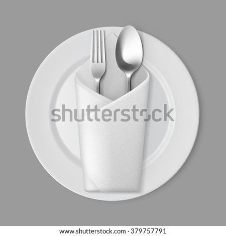 Vector White Empty Flat Round Plate with Silver Fork and Spoon and White Folded Envelope Napkin Top View Isolated on Background. Table Setting - stock vector