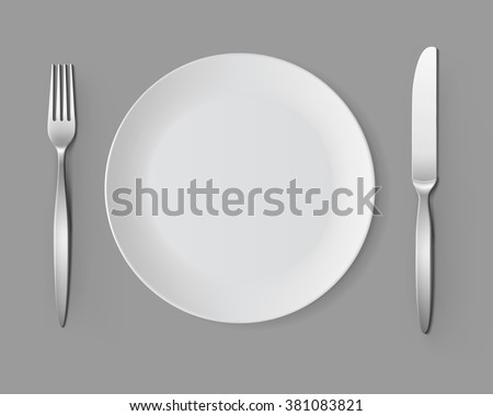 Vector White Empty Round Plate with Fork and Knife Top View Isolated on Background. Table Setting