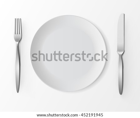 Vector White Empty Round Plate with Fork and Knife Top View Isolated on White Background. Table Setting - stock vector