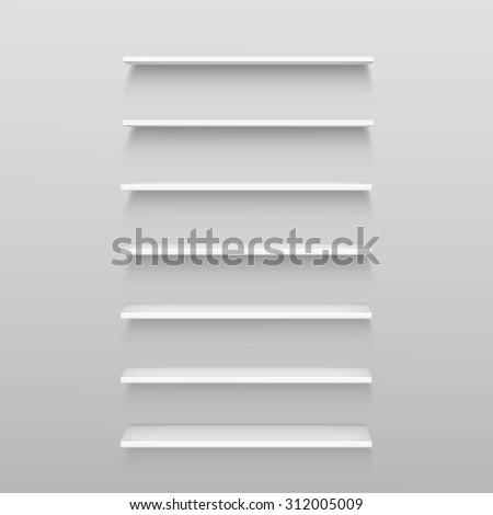 Vector White Empty Shelf Shelves Isolated on Wall Background - stock vector