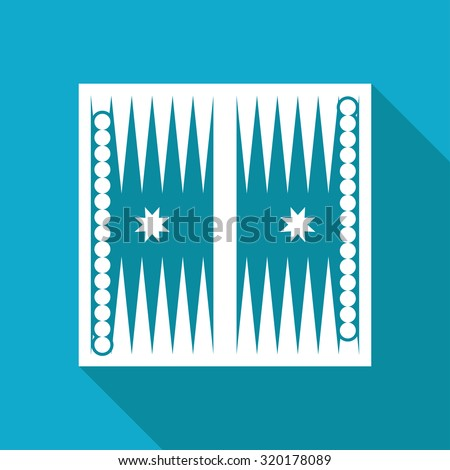 Vector white flat backgammon table with dices icon on blue background  - stock vector
