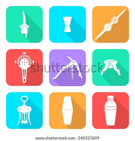 vector white flat design barman equipment icons set tools pour spout, jigger, plug, winged corkscrew, wine opener, squeezer, shaker, cocktail strainer with shadows  - stock vector