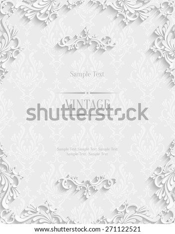 Vector White Floral 3d Background. Template for Christmas and Invitation Cards  - stock vector
