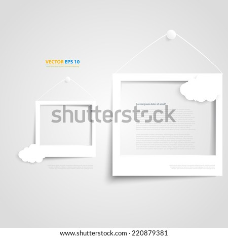 Vector white frames on the white wall. Picture frame and shadow with cloud - stock vector