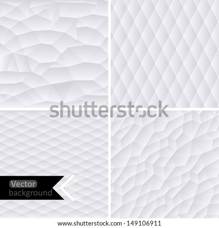 Vector white geometric background. Vector Illustration. White mosaic banners. Geometric hipster retro background with place for your text. Retro triangle background. Set of four geometric templates. - stock vector