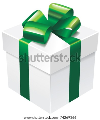 Vector white gift box with green silk ribbon and bow - stock vector