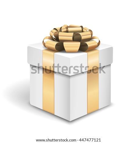 Vector white gold gift box - stock vector