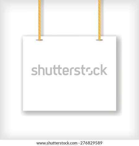 Vector White Handing Sign Isolated on White Background.