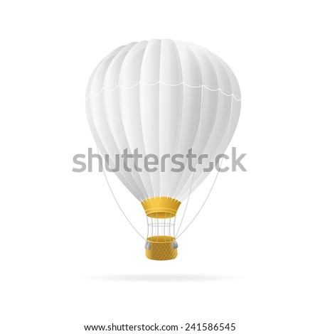 Vector white hot air ballon isolated on white background - stock vector