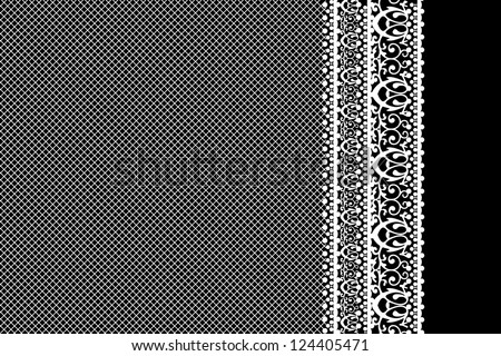 Vector white lace on black background - stock vector