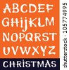 Vector white letters on an orange background / Christmas - stock vector