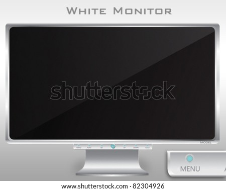 Vector White Monitor - stock vector