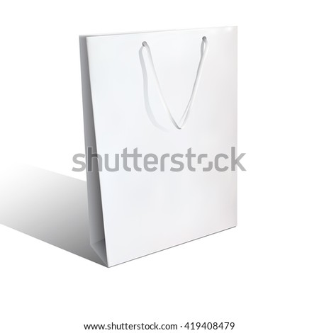 Vector white near to realistic paper bag (mock - up) for your logos, design, trademark isolated on white