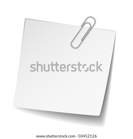 vector white note paper with paperclip - stock vector