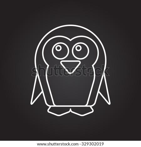 Vector white outline penguin icon on black background  - stock vector
