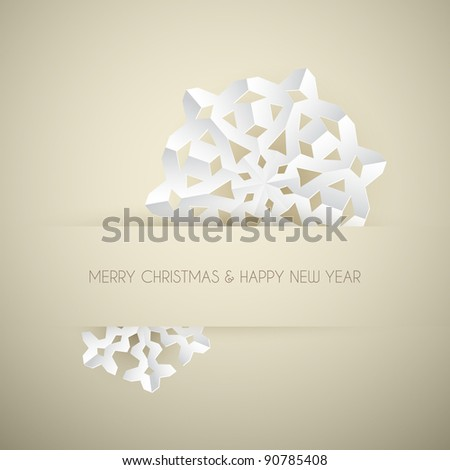 Vector white paper christmas snowflake on a golden light background - stock vector