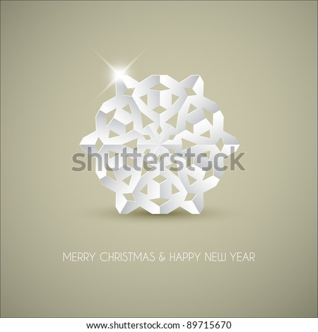 Vector white paper christmas snowflake on a light brown background - stock vector