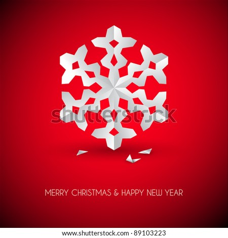 Vector white paper christmas snowflake on a red background - stock vector