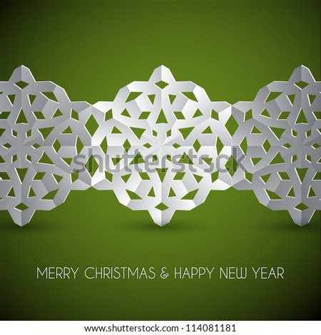 Vector white paper christmas snowflakes on a green background - stock vector