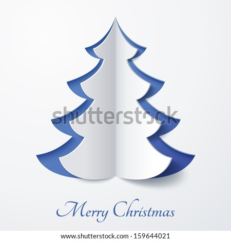 Vector white paper Christmas tree on a blue matte background. Design elements for holiday cards. - stock vector