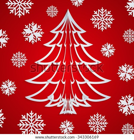 Vector white paper Christmas tree on the red background with snowflakes. Design elements for holiday cards. EPS10. - stock vector