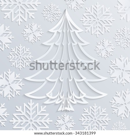 Vector white paper Christmas tree with snowflakes. Applique background. Design elements for holiday cards. EPS10. - stock vector