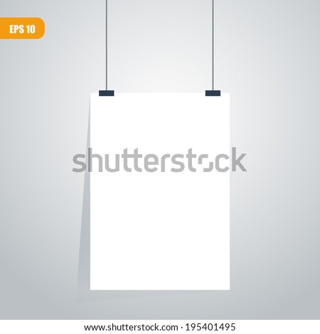 vector white paper clipped - stock vector