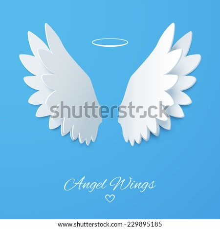 Vector white paper wings on a blue matte background. Beautiful applique. Abstract design. Vector illustration. - stock vector