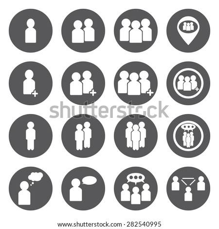 Vector white people icons set