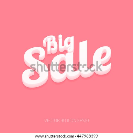 Vector white plastic big sale 3d typography on pink background - stock vector