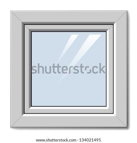 vector white plastic window - stock vector