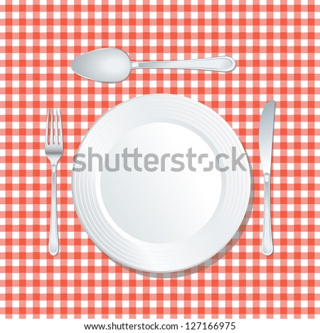 vector white plate on red tablecloth with spoon, knife and fork