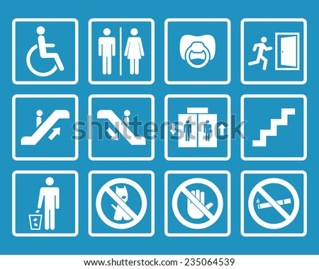 Vector white public icons with toilet,child,garbage,dog,lift,escalator,exit,stairs,wheel chair,smoking - stock vector
