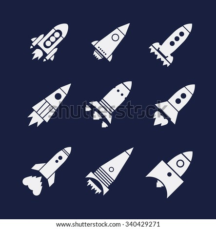 Vector white rocket icons set on dark background - stock vector