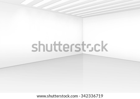 Vector White Room Interior in Minimal Style with Empty Wall Background - stock vector