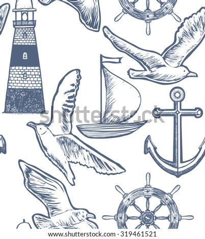 vector white seamless background with lighthouse, boat, seagulls, anchor and steering wheel - stock vector