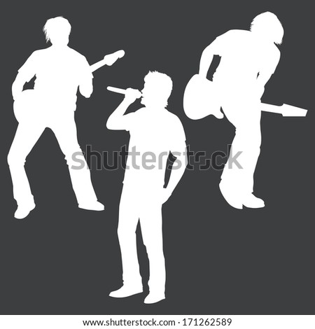 vector white silhouettes of rock band: vocalist and two guitarists - stock vector