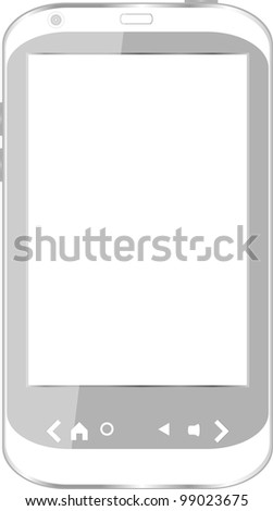 vector white smart phone isolated on white - stock vector
