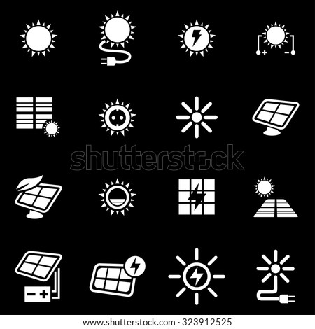 Vector white solar energy icon set.
