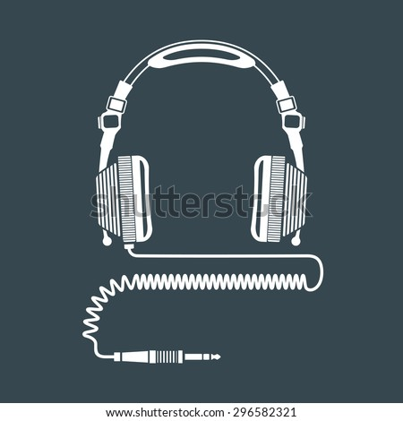 vector white solid color dj headphones with coiled cord and jack connector dark background
