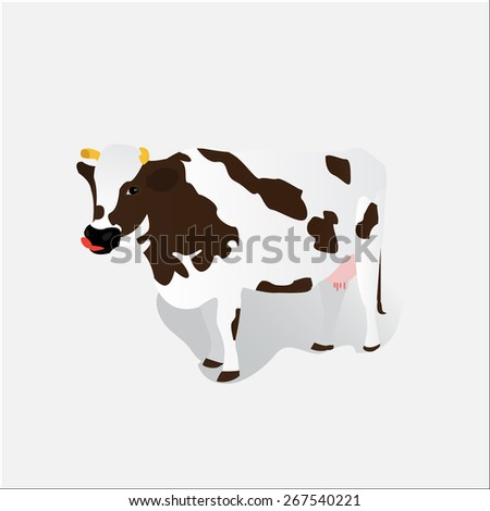 Vector white spotted cow isolated on background - stock vector
