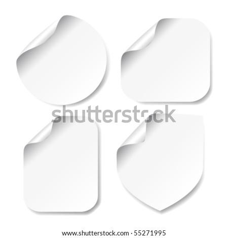 Vector white stickers - stock vector