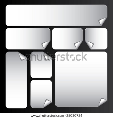 vector white stickers with rounded corners - stock vector