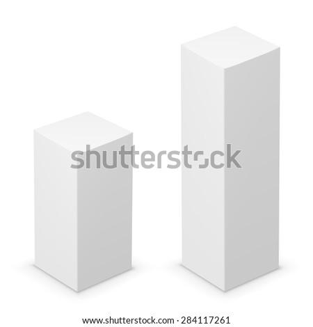 Vector white tall box design template. Illustration on white background - stock vector