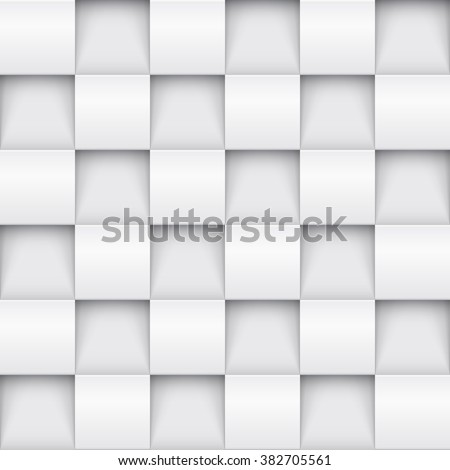 Vector white tile pattern panel background. Seamless geometric twisted design. 3D texture interior wall panel for graphic or website template layout. - stock vector