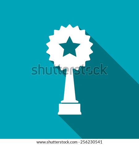 Vector white trophy and awards with star icon - stock vector