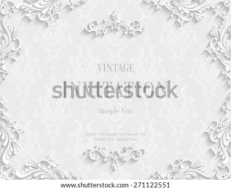 Vector White Vintage Background with 3d Floral Damask Pattern Template for Greeting or Invitation Card Design in Paper Cut Style - stock vector