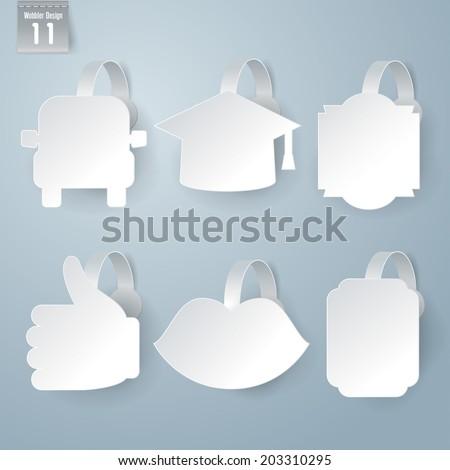 Vector white wobbler set on gray background set 11. - stock vector