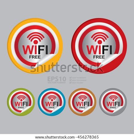 Vector : Wifi Free Infographics Icon on Circle Peeling Sticker - stock vector